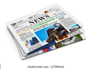 Stack of newspapers with business news isolated on white background with reflection effect