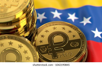 Stack of Petro concept coins on Venezuelan flag. Situation of Petro the cryptocurrency of Venezuela concept. 3D Rendering