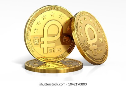 Stack of Petro, the oil backed cryptocurrency coin, isolated on white background. 3D rendering