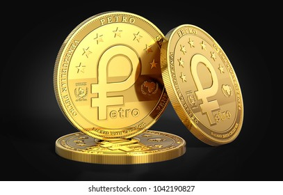 Stack of Petro, the oil backed cryptocurrency coin, isolated on black background. 3D rendering