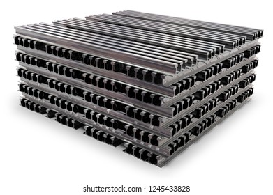 Stack of rails isolated on white. 3D rendering