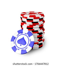 Stack of realistic casino chips or pile of gambling tokens in 3D illustration. Volumetric heap of money or cash for games like poker and blackjack, roulette.