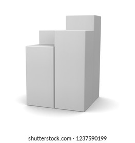Stack of realistic white blank boxes isolated on white background. 3d illustration