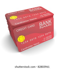 A stack of red credit card