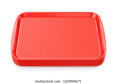 Stack of red glossy plastic food trays isolated on white background. 3D illustration