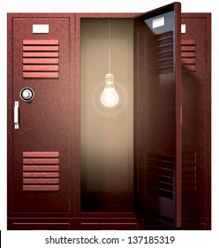A stack of red metal school lockers with one with an open door with an illuminated lightbulb hanging inside on an isolated background