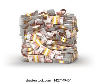 Stack of the Russian ruble. 5000 Russian banknotes. wads of money. A lot of money