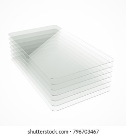 Stack of seven clear colorless glass or plastic or polymer thin sheets with rounded corners. Layers of transparent dielectric material. 3d rendering, digital illustration