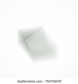 Stack of seven clear colorless glass or plastic or polymer thin sheets with rounded corners. Layers of transparent dielectric material. Isometric view. 3d rendering, digital illustration