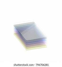 Stack of seven colored glass or plastic or polymer thin sheets with rounded corners. Layers of transparent dielectric material. Isometric view. 3d rendering, digital illustration