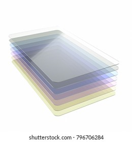 Stack of seven colored glass or plastic or polymer thin sheets with rounded corners. Layers of transparent dielectric material. 3d rendering, digital illustration