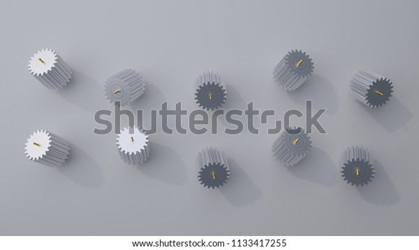 Stack of several gears on the bright flat background. Simple mechanical themed 3d illustration.