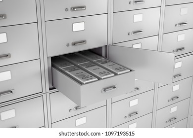 Stack of Silver Bars in Opened Bank Safe Deposit Box extreme closeup. 3d Rendering