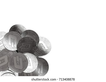 Stack of silver Dash coins in bottom-left corner isolated on white and copy space for your text. 3D rendering