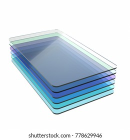 Stack of six blue glass or plastic or polymer sheets with rounded corners. Layers of transparent dielectric material. 3d rendering, digital illustration