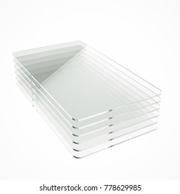 Stack of six clear colorless glass or plastic or polymer sheets with rounded corners. Layers of transparent dielectric material. 3d rendering, digital illustration