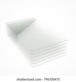 Stack of six clear colorless glass or plastic or polymer thin sheets with rounded corners. Layers of transparent dielectric material. 3d rendering, digital illustration