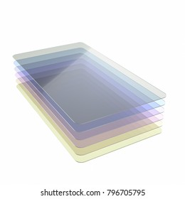 Stack of six colored glass or plastic or polymer thin sheets with rounded corners. Layers of transparent dielectric material. 3d rendering, digital illustration