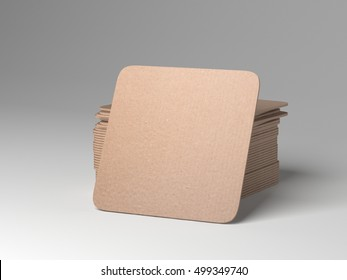 Stack of  square beer coasters. 3d rendering