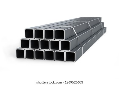 Stack of square pipes isolated on white background - 3d render