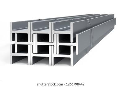 Stack of steel I-beams - 3D render