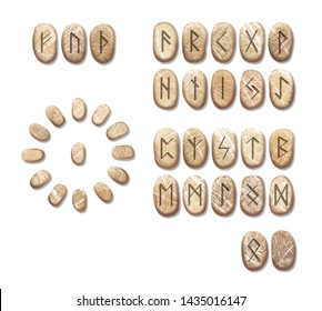 Stack of stone runes isolated on white background. Runes are cut from stone blocks. Magic symbols for esoteric divination. The circle of the runes for divination.