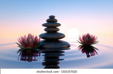 Stack of stones in calm water with lotus flowers - concept of meditation - 3D illustration
