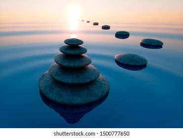Stack of stones in calm water in the wide ocean - concept of meditation - 3D illustration