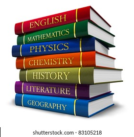 Stack of textbooks isolated on white background