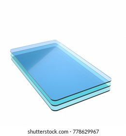 Stack of three blue glass or plastic or polymer sheets with rounded corners. Layers of transparent dielectric material. 3d rendering, digital illustration
