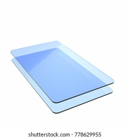 Stack of two blue glass or plastic or polymer sheets with rounded corners. Layers of transparent dielectric material. 3d rendering, digital illustration