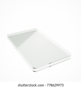 Stack of two clear glass or plastic or polymer sheets with rounded corners. Layers of transparent dielectric material. 3d rendering, digital illustration