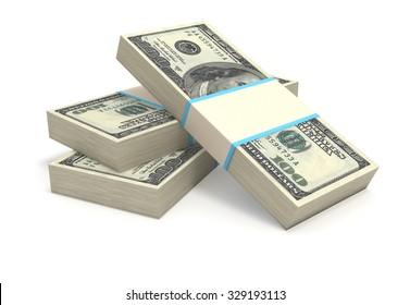 Stack of US Dollar bills.