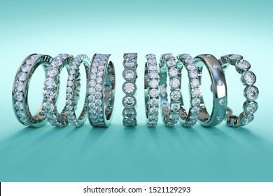 Stack of various diamond eternity rings on turquoise background. 3D illustration