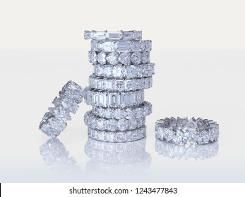 A stack of various diamond eternity wedding rings on white background. 3D illustration