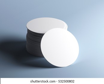 Stack of white round beer coasters, isolated on grey background. Mockup. 3D illustration