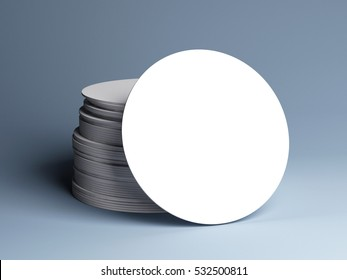 Stack of white round beer coasters, isolated. Mockup. 3D illustration