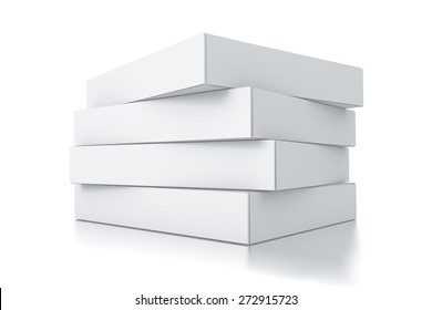 Stack of white square boxes. High resolution 3D rendered illustration.