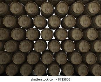 Stack of wooden wine barrels. 3d