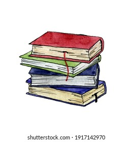 Stacked books drawn watercolor illustration on white backgroud