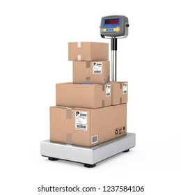 Stacked Cardboard Boxes Parcels over Warehouse Digital Cargo Scales on a white background. 3d Rendering