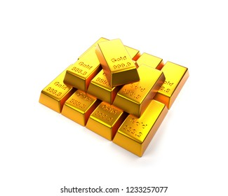 Stacked fine gold bars on a white background, 3d rendering, financial concept