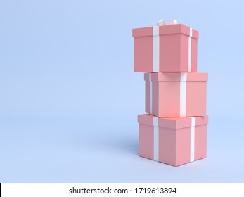 Stacked gift box on pastel blue background. 3d render