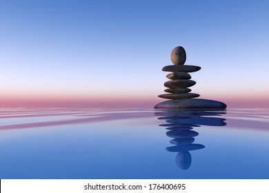 stacked stones on the water