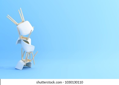 Stacked white chairs on pastel blue background. 3d render