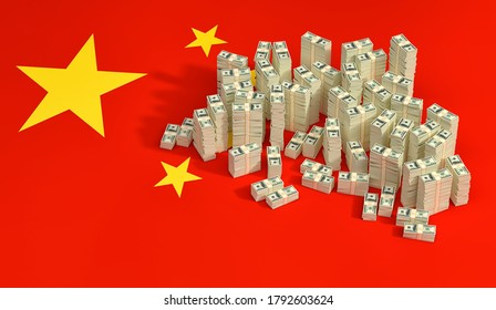 Stacks of 100 Dollar banknotes on China national flag. 3D Rendering