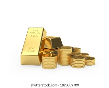 Stacks of bitcoin coins and gold bars isolated on white background. 3D illustration