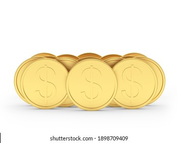 Stacks of gold dollar coins isolated on white background. 3D illustration