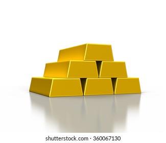 stacks of gold ingots or golden bullion bars on white background