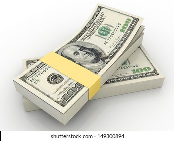 Stacks of one hundred dollars banknotes